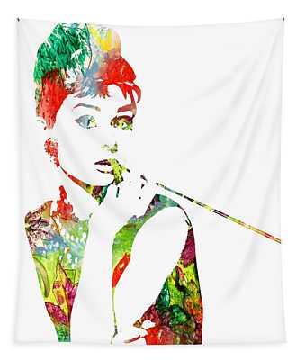 Audrey Hepburn - Watercolor Tapestry