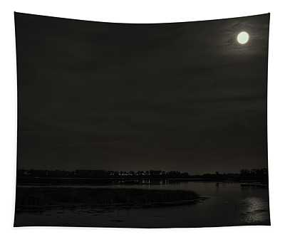 August Full Moon Over Lake Wausau Tapestry