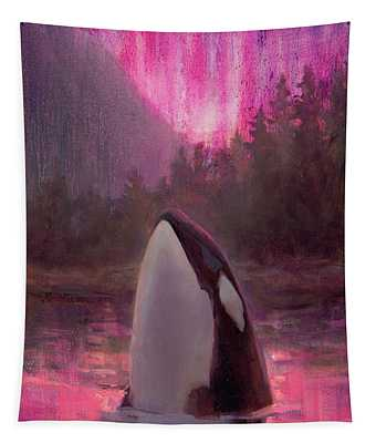 Orca Whale And Aurora Borealis - Killer Whale - Northern Lights - Seascape - Coastal Art Tapestry