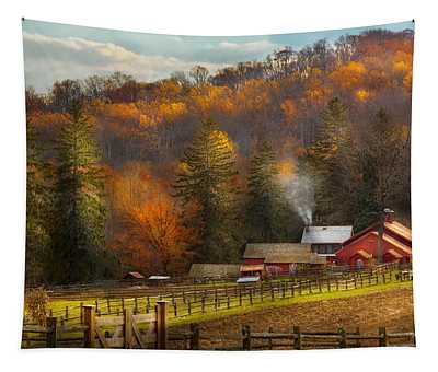 Autumn - Barn - The End Of A Season Tapestry