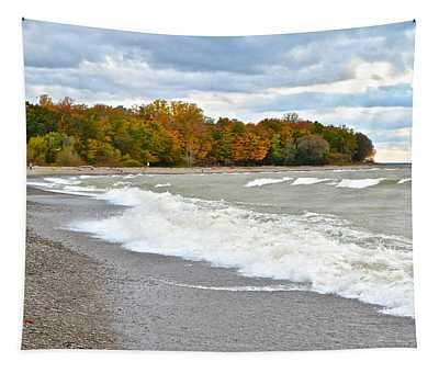 Autumn Beach Scene Tapestry