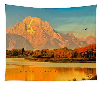 Autumn Dawn At Oxbow Bend Tapestry