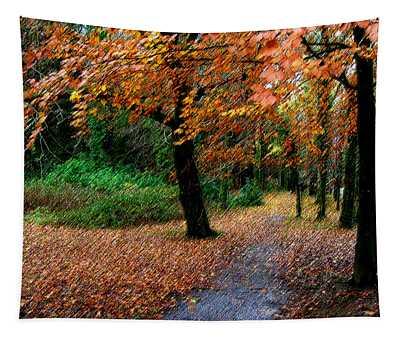Tapestry featuring the digital art Autumn Entrance To Muckross House Killarney by James Truett