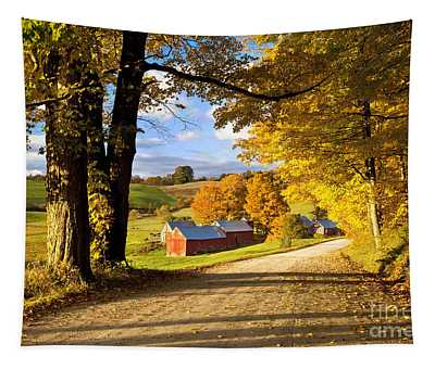 Autumn Farm In Vermont Tapestry