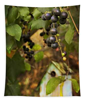 Autumn Grapes With Birdhouse Tapestry