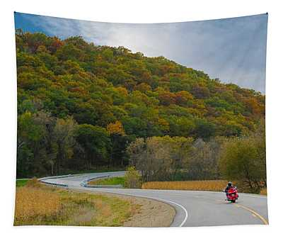 Autumn Motorcycle Rider / Orange Tapestry