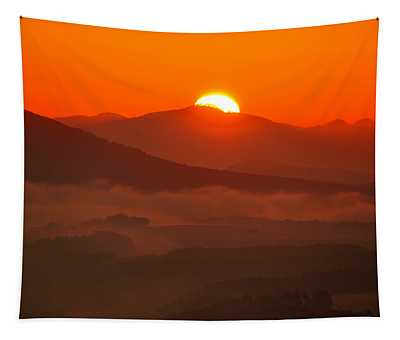 Autumn Sunrise On The Lilienstein Tapestry