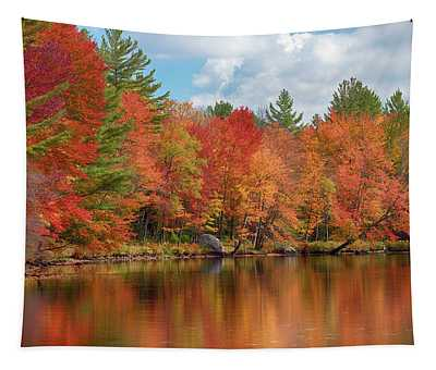 Autumn Trees At Riverbank, Oswegatchie Tapestry