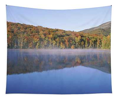 Autumn Trees Reflected In Heart Lake Tapestry