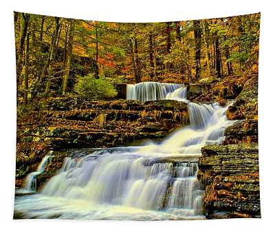 Autumn By The Waterfall Tapestry