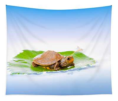 Baby Turtle On A Leaf Tapestry