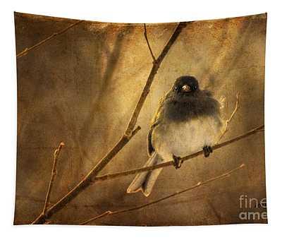 Backlit Birdie Being Buffeted  Tapestry