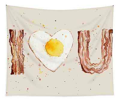 Bacon And Egg I Heart You Watercolor Tapestry
