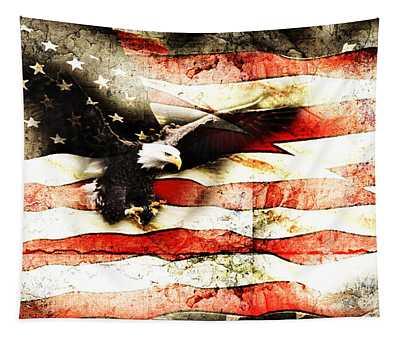 Bald Eagle Bursting Thru Flag Tapestry