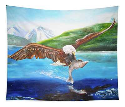 Bald Eagle Having Dinner Tapestry