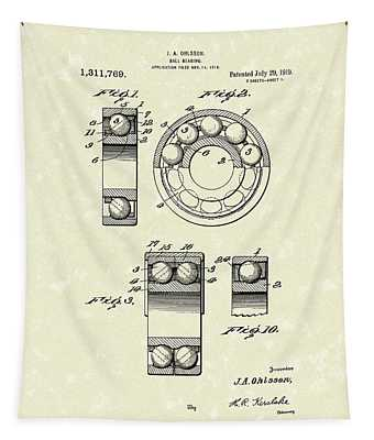 Ball Bearing 1919 Patent Art Tapestry