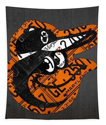 Baltimore Orioles Vintage Baseball Logo License Plate Art Tapestry