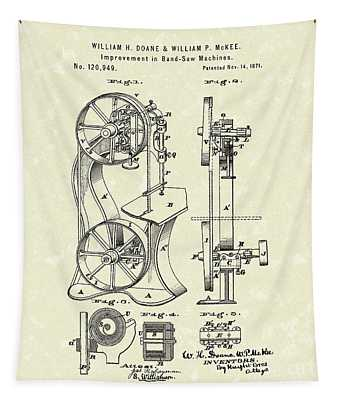 Band Saw 1871 Patent Art Tapestry