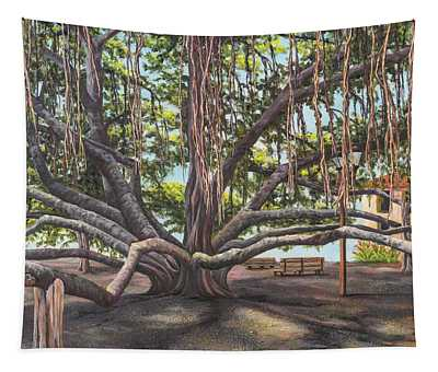 Tapestry featuring the painting Banyan Tree Lahaina Maui by Darice Machel McGuire