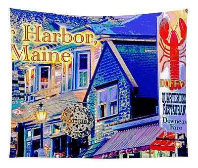Bar Harbor Maine Shops At Night Tapestry