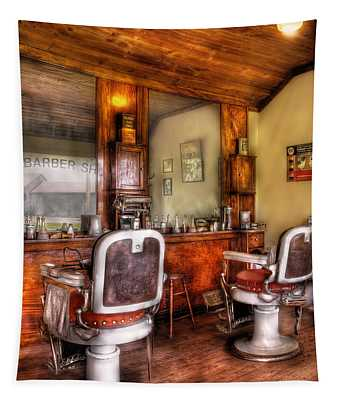 Tapestry featuring the photograph Barber - The Barber Shop II by Mike Savad