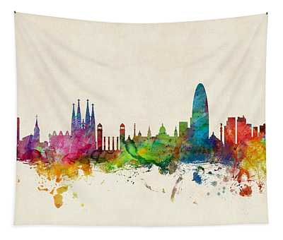 Barcelona Spain Skyline Tapestry