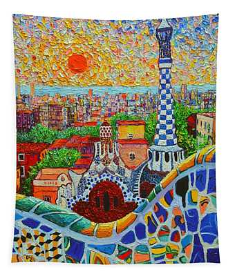 Barcelona Sunrise - Guell Park - Gaudi Tower Tapestry