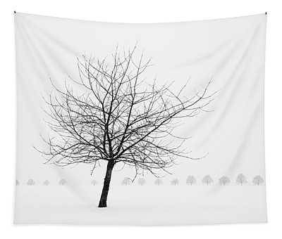 Bare Tree In Winter - Wonderful Black And White Snow Scenery Tapestry
