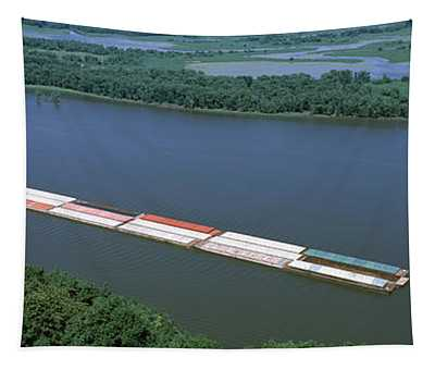Barge In A River, Mississippi River Tapestry