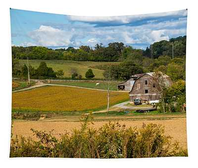 Barn And Farmland Tapestry