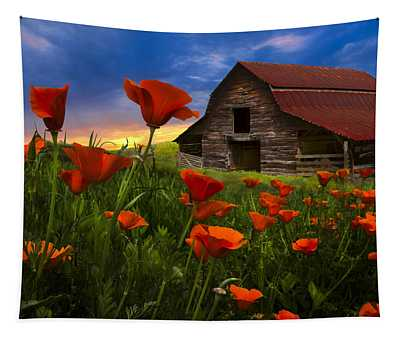 Barn In Poppies Tapestry