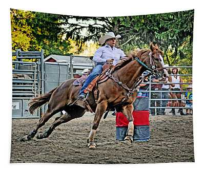 Tapestry featuring the photograph Barrel Racing Queen  by Gary Keesler