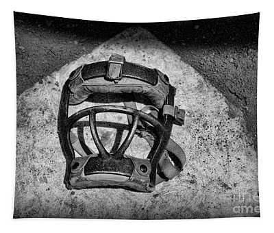 Baseball Catchers Mask Vintage In Black And White Tapestry