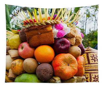 Basket Of Fruits And Bakery Items Tapestry