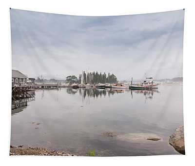Bass Harbor In The Morning Fog Tapestry