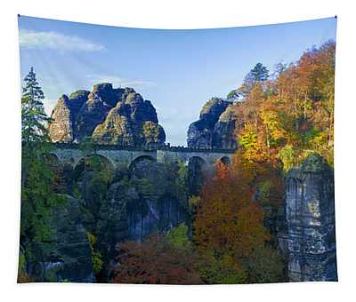 Bastei Bridge In The Elbe Sandstone Mountains Tapestry