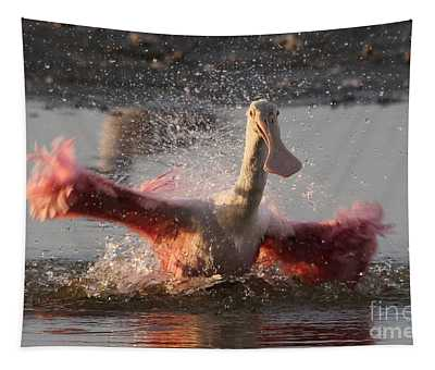 Bath Time - Roseate Spoonbill Tapestry