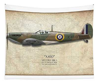Battle Of Britain Spitfire X4110 - Map Background Tapestry