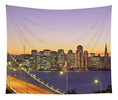 Bay Bridge At Night, San Francisco Tapestry