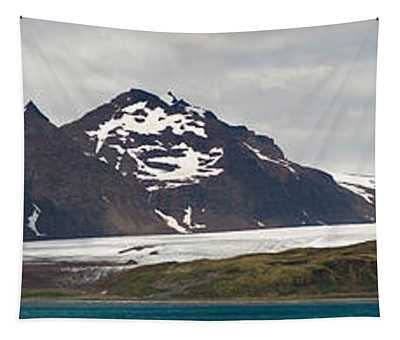 Bay In Front Of Snow Covered Mountains Tapestry