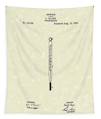 Bayer Thermometer 1895 Patent Art Tapestry