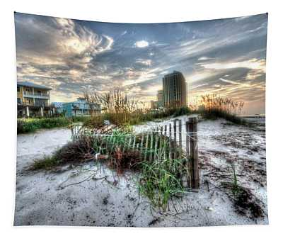 Beach And Buildings Tapestry