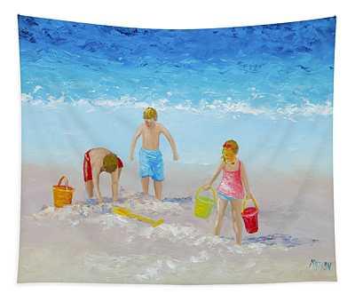 Beach Painting - Sandcastles Tapestry