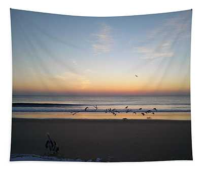Beagle Birds Coming Dawn Tapestry