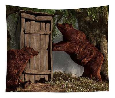 Bears Around The Outhouse Tapestry