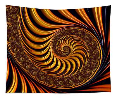 Beautiful Golden Fractal Spiral Artwork  Tapestry