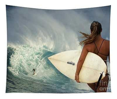 Surfer Girl Meets Jaws Tapestry