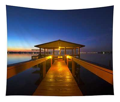 Before Dawn At The Dock Tapestry