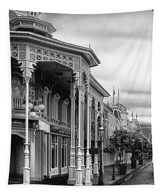 Before The Gates Open In Black And White Walt Disney World Tapestry