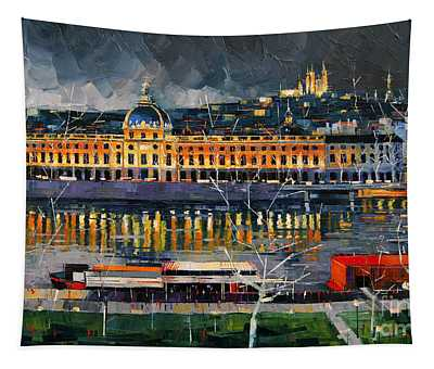 Before The Storm - View On Hotel Dieu Lyon And The Rhone France Tapestry